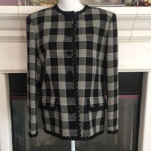 Plaid blazer w/amazing trim on neck, front,sleeves